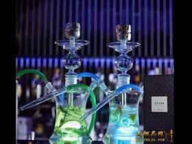 酒吧新宠带led遥控灯50厘米高双嘴全玻璃透明阿拉伯水烟壶!