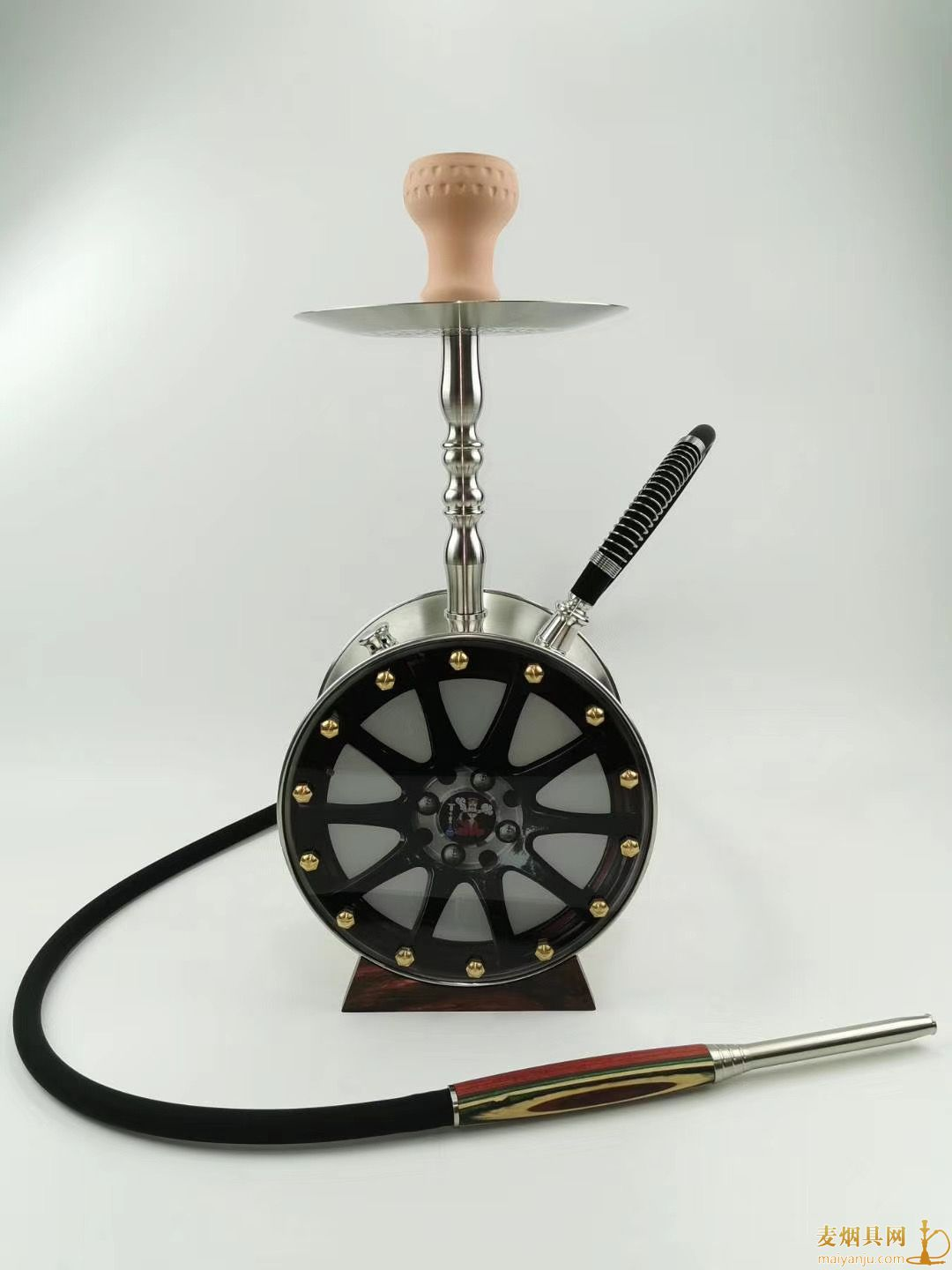 高品质车轮毂造型水烟壶单嘴不锈钢