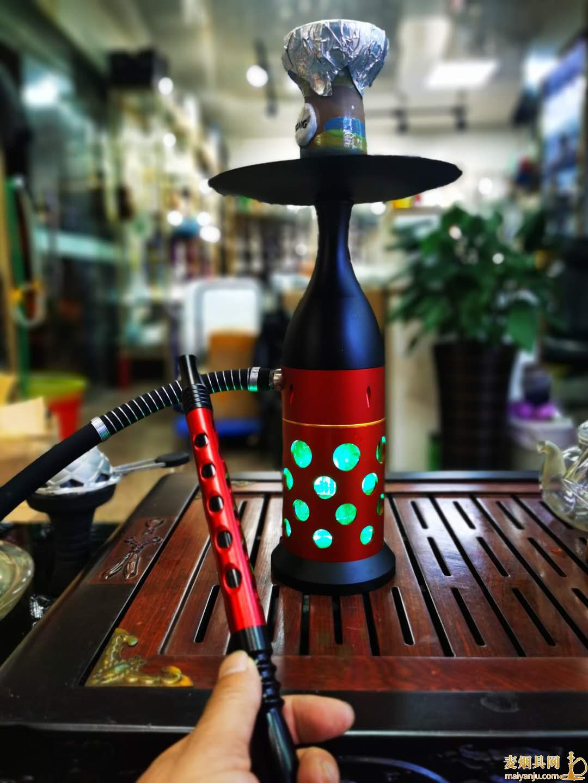 保龄球水烟壶单嘴铝合金排气40厘米左右带灯水烟壶
