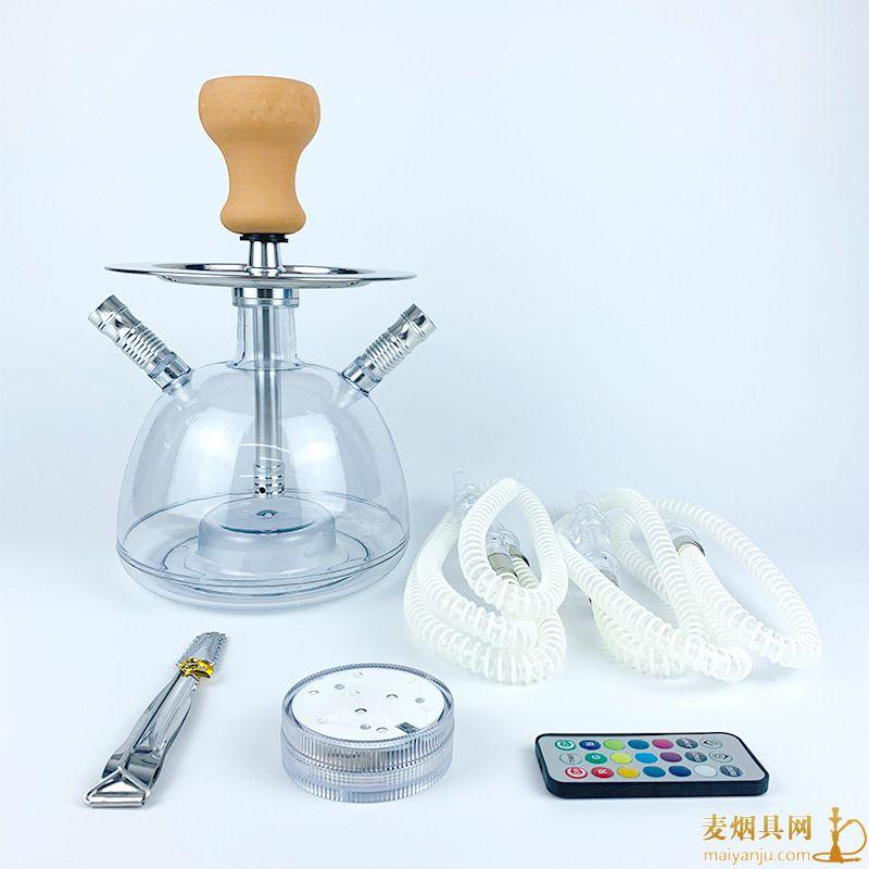 带灯双管泡泡阿拉伯水烟壶图片价格批发多少钱一件
