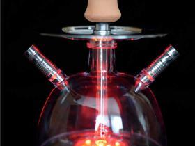 阿拉伯水烟壶亚克力带灯泡泡壶组装使用方法图解
