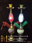 大号双管充电带灯阿拉伯水烟壶 夜场最流行款式之一 红色 绿色到