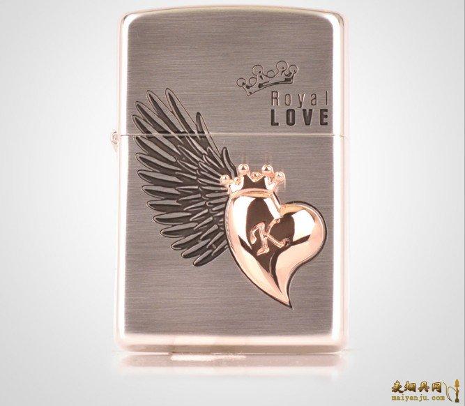 正品ZIPPO火机 2013新款 白金我心飞翔 ROYAL LOVE SI 2428