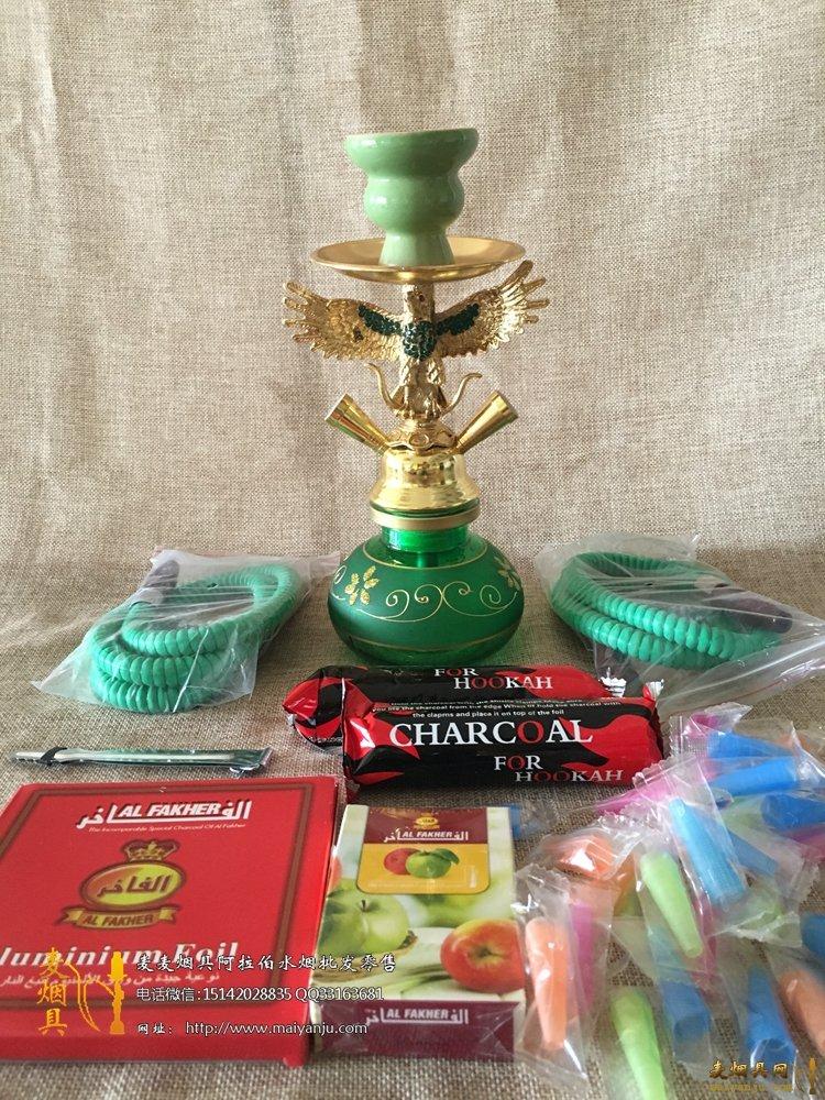 绿色老鹰水烟壶
